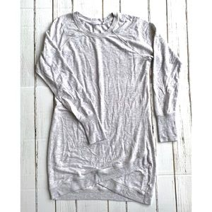 Athleta Gray Criss Cross Sweatshirt Dress sz M